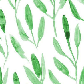 Watercolor leaves ★ painted nature for modern home decor, bedding, nursery, tropical fresh design