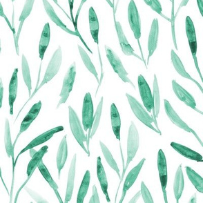 Emerald watercolor leaves ★ painted leaf pattern for modern home decor, bedding, nursery ★ tonal green leaves
