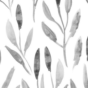 Silver watercolor leaves ★ painted branches for modern home decor, bedding, nursery