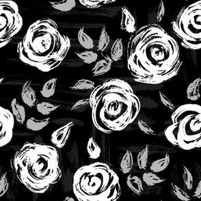 Brushstroke Roses White on Black