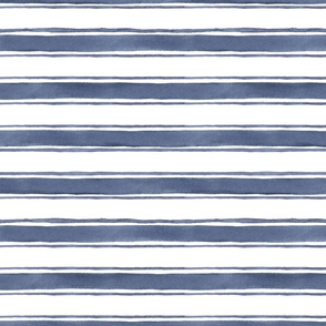 Blue Watercolor Thick and Thin Triple Stripe
