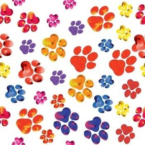 Colorful animal paw print trails