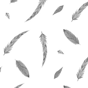 Black and white feather watercolor pattern