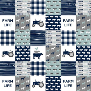 "(3"" small scale) farm life - tractor wholecloth patchwork - navy and dusty blue C19BS"