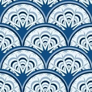 Classic blue art deco fan