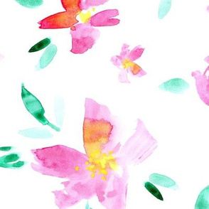 Watercolor pretty flowers ★ large scale floral design for modern home decor, bedding, nursery ★ pink roses and peonies