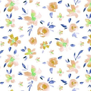 Watercolor peach and blue pretty flowers ★ painted florals for modern home decor, bedding, nursery
