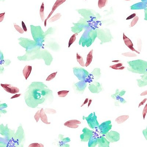 Watercolor pretty flowers in light blue ★ painted florals for modern home decor, bedding, nursery