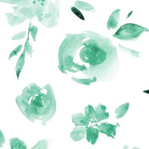 Emerald peonies and roses ★ watercolor tonal flowers for modern home decor, bedding, nursery