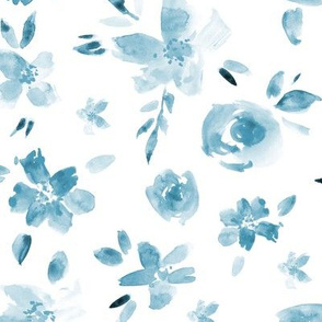 Blue watercolor pretty flowers ★ painted tonal florals for neutral monochrome modern home decor, bedding, nursery