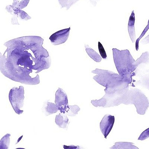 Amethyst watercolor flowers ★ large scale tonal monochrome florals for modern home decor, bedding