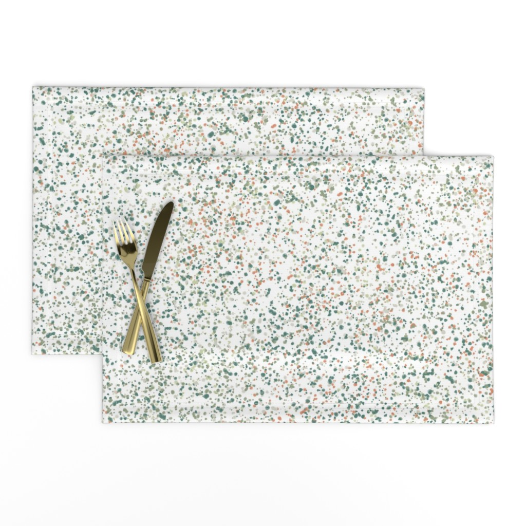 Lamona Cloth Placemats featuring confetti olive + apricot by kateriley