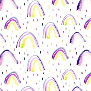 Watercolor mustard and purple magic rainbows ★ painted rainbows for gender neutral nursery