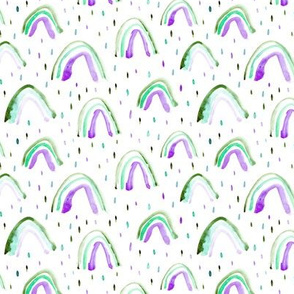 Emerald and amethyst watercolor rainbows ★ painted rainbows for modern nursery, kids