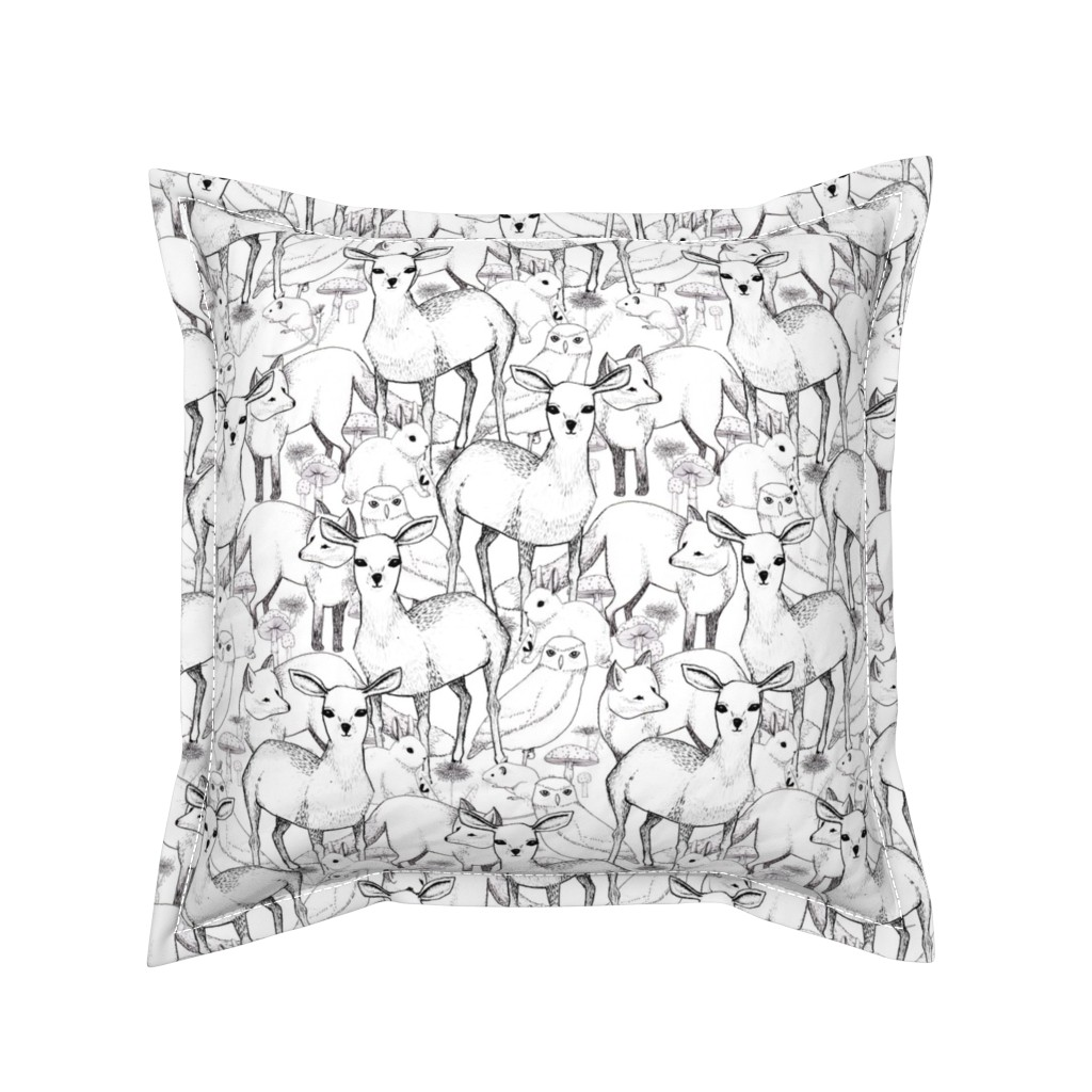 Serama Throw Pillow featuring Woodland (white background) by lydia_meiying