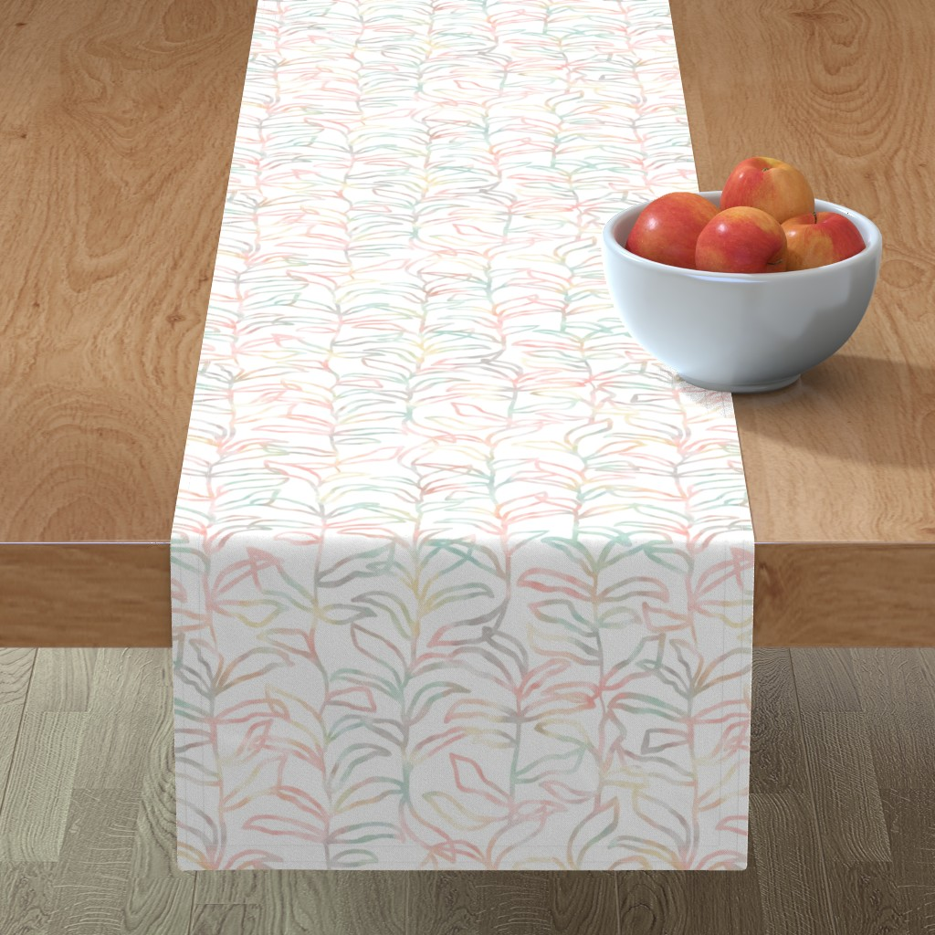 Minorca Table Runner featuring Watercolor Summer Vine, Apricot by kateriley