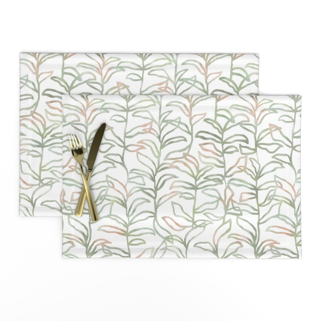 Lamona Cloth Placemats featuring Watercolor Summer Vine, Olive by kateriley