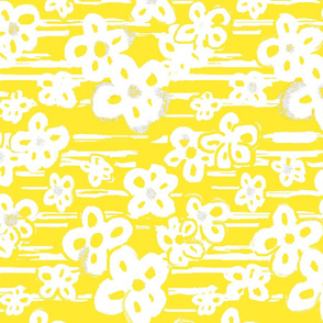 Painterly floral yellow and white