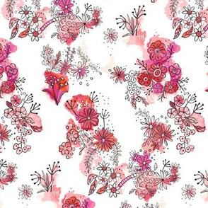 watercolour doodle flowers pinks