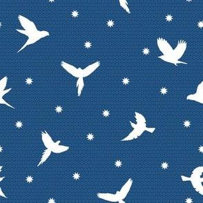 flying birds white on classic blue