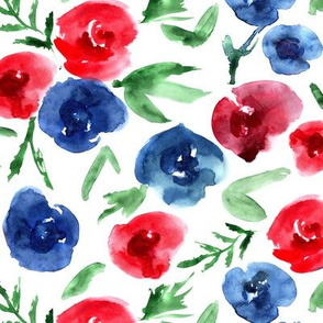 Watercolor roses love in blue and red ★ painted flowers for modern home decor, bedding, nursery