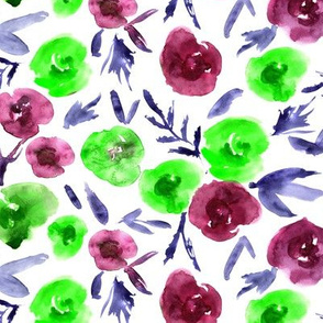Burgundy and green watercolor roses ★ painted florals for modern home decor, bedding, nursery