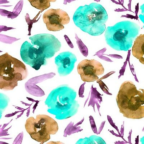 Watercolor aqua and earthy roses ★ painted flowers for modern home decor