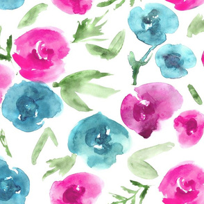 Watercolor roses love ★ large scale painted flowers
