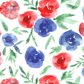 Red and blue watercolor roses ★ patriotic 4th of july florals for modern home decor, bedding, nursery