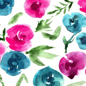 Watercolor roses love in emerald and pink ★ painted flowers for modern home decor, bedding, nursery