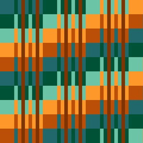 Small - Step Up Stripes  in Teal Green - Turquoise - Orange