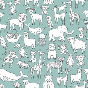 All sorts of animals - teal blue