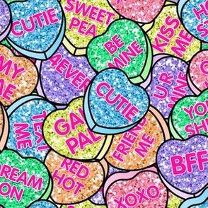 Conversation Glitter Hearts Valentine's Day