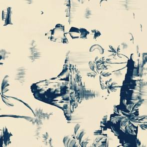 Painterly blue seaside Tea Towel II