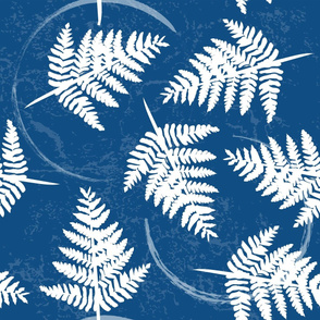 fern leaves classic blue and white