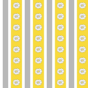 Whimsy Daisy Stripes in White - Grey - Yellow