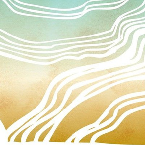 Reef - Painterly Abstract Landscape Jumbo Scale Golden Aqua