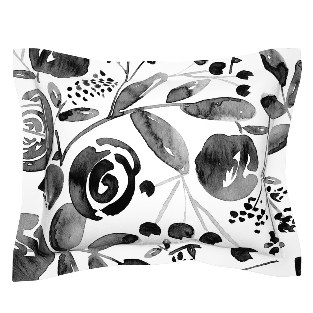Sebright Pillow Sham featuring Bountiful Bouquet - Black and white watercolor floral - Jumbo Scale by heatherdutton