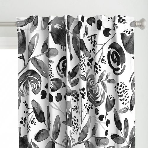 Bountiful Bouquet - Black and white watercolor floral - Jumbo Scale