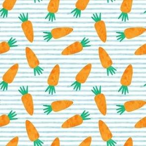 carrots on blue stripes - easter - spring garden - LAD19