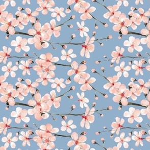 blush pink cherryblossom watercolor, slate blue grey