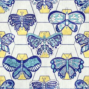 Butterflies, blue gouache