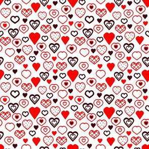 Doodle Hearts Red and Black