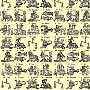 Woodcut Zodiac // Parchment // Very Small