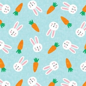(small scale) bunnies and carrots - blue - easter spring - LAD19