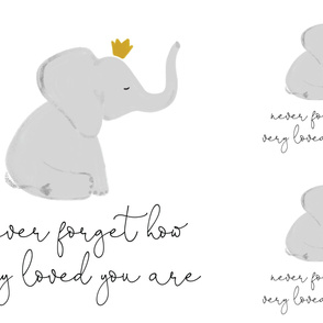 1 blanket + 2 loveys: never forget how very loved you are elephant with crown // no lines