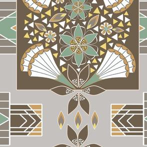 Art Deco Green and Gold Wholecloth Quilt Duvet