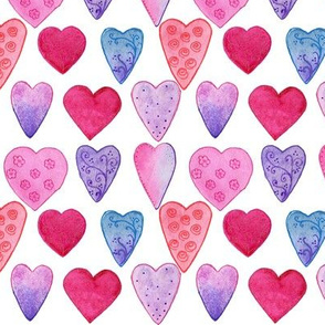 Patterned Watercolor Hearts