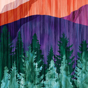 Moonlit Mountainscape - 1yd panel