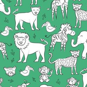 Jungle Animals - kelly green